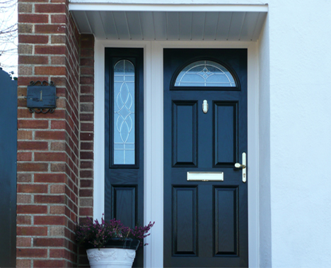 composite door Fareham with half glazed side panel