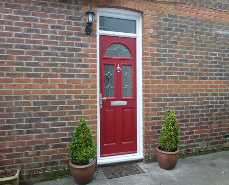 leaded glazed composite door with window above