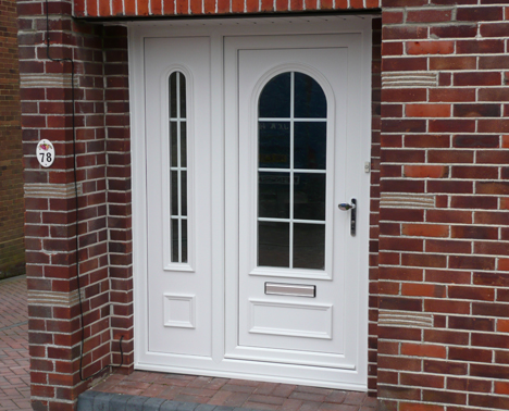 replacement doors, white PVCu door with side window